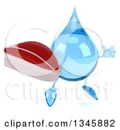 Clipart Of A 3d Water Drop Character Holding A Beef Steak And Jumping Royalty Free Illustration