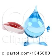 Clipart Of A 3d Water Drop Character Holding A Beef Steak And Thumb Down Royalty Free Illustration