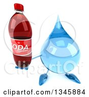 Clipart Of A 3d Water Drop Character Holding Up A Soda Bottle Royalty Free Illustration