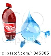 Clipart Of A 3d Water Drop Character Holding Up A Thumb Down And A Soda Bottle Royalty Free Illustration by Julos