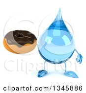 Clipart Of A 3d Water Drop Character Holding A Chocolate Glazed Donut Royalty Free Illustration