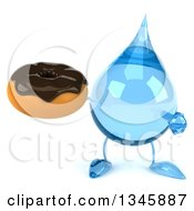 Clipart Of A 3d Water Drop Character Holding And Pointing To A Chocolate Glazed Donut Royalty Free Illustration