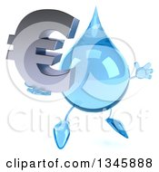 Clipart Of A 3d Water Drop Character Holding A Euro Currency Symbol And Jumping Royalty Free Illustration