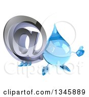 Clipart Of A 3d Water Drop Character Holding Up A Thumb And Email Arobase At Symbol Royalty Free Illustration by Julos