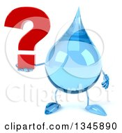 Clipart Of A 3d Water Drop Character Holding A Question Mark Royalty Free Illustration