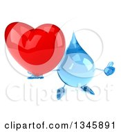 Clipart Of A 3d Water Drop Character Holding Up A Thumb And Heart Royalty Free Illustration