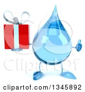 Clipart Of A 3d Water Drop Character Holding A Gift And Giving A Thumb Up Royalty Free Illustration