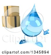Clipart Of A 3d Water Drop Character Holding Boxes And Shrugging Royalty Free Illustration