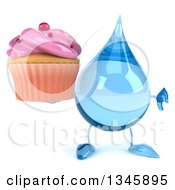 Clipart Of A 3d Water Drop Character Holding A Pink Frosted Cupcake And Giving A Thumb Down Royalty Free Illustration