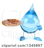 Clipart Of A 3d Water Drop Character Holding And Pointing To A Pizza Royalty Free Illustration
