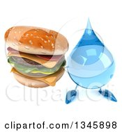 Clipart Of A 3d Water Drop Character Holding Up A Double Cheeseburger Royalty Free Illustration