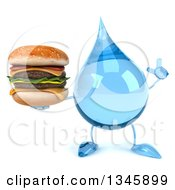 Clipart Of A 3d Water Drop Character Holding Up A Finger And A Double Cheeseburger Royalty Free Illustration by Julos