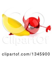 Clipart Of A 3d Red Devil Head Holding Up A Banana And Thumb Down Royalty Free Illustration