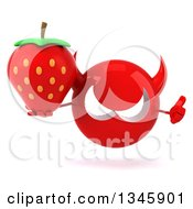 Clipart Of A 3d Red Devil Head Holding A Strawberry And Thumb Up Royalty Free Illustration