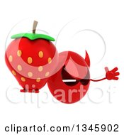 Clipart Of A 3d Red Devil Head Holding A Strawberry Facing Right And Jumping Royalty Free Illustration