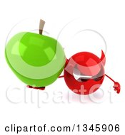 Clipart Of A 3d Red Devil Head Holding Up A Green Apple Royalty Free Illustration
