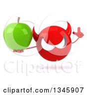 Clipart Of A 3d Red Devil Head Holding Up A Finger And A Green Apple Royalty Free Illustration