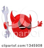 Clipart Of A 3d Red Devil Head Holding A Wrench Facing Slightly Right And Jumping Royalty Free Illustration