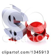 Clipart Of A 3d Red Devil Head Holding Up A Dollar Currency Symbol Royalty Free Illustration