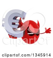Clipart Of A 3d Red Devil Head Holding A Euro Currency Symbol Facing Slightly Right And Jumping Royalty Free Illustration