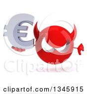 Clipart Of A 3d Red Devil Head Holding A Euro Currency Symbol And Giving A Thumb Down Royalty Free Illustration