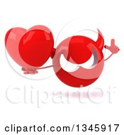 Clipart Of A 3d Red Devil Head Holding Up A Finger And A Heart Royalty Free Illustration