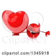 Clipart Of A 3d Red Devil Head Holding Up A Thumb Down And A Heart Royalty Free Illustration