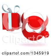 Clipart Of A 3d Red Devil Head Holding And Pointing To A Gift Royalty Free Illustration