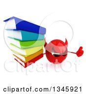 Clipart Of A 3d Red Devil Head Holding Up A Thumb And Stack Of Books Royalty Free Illustration