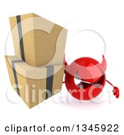 Clipart Of A 3d Red Devil Head Holding Up Boxes Royalty Free Illustration