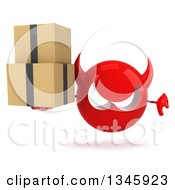 Clipart Of A 3d Red Devil Head Holding Boxes And Giving A Thumb Down Royalty Free Illustration