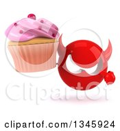 Clipart Of A 3d Red Devil Head Holding And Pointing To A Pink Frosted Cupcake Royalty Free Illustration by Julos