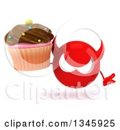 Clipart Of A 3d Red Devil Head Shrugging And Holding A Chocolate Frosted Cupcake Royalty Free Illustration