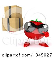 Clipart Of A 3d Tomato Character Wearing Sunglasses Holding And Pointing To Boxes Royalty Free Illustration