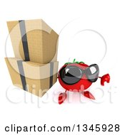 Clipart Of A 3d Tomato Character Wearing Sunglasses Holding Up A Thumb Down And Boxes Royalty Free Illustration