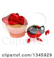 Clipart Of A 3d Tomato Character Wearing Sunglasses Holding Up A Thumb Down And A Cupcake Royalty Free Illustration
