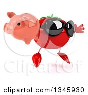 Clipart Of A 3d Tomato Character Wearing Sunglasses Holding A Piggy Bank And Jumping Royalty Free Illustration by Julos