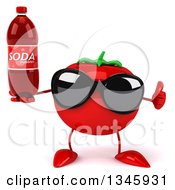 Clipart Of A 3d Tomato Character Wearing Sunglasses Holding Up A Thumb And A Soda Bottle Royalty Free Illustration by Julos
