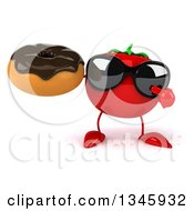 Clipart Of A 3d Tomato Character Wearing Sunglasses Holding And Pointing To A Chocolate Glazed Donut Royalty Free Illustration by Julos