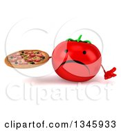 Clipart Of A 3d Unhappy Tomato Character Holding A Pizza And Shrugging Royalty Free Illustration by Julos