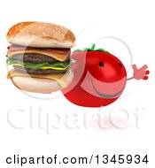 Clipart Of A 3d Happy Tomato Character Facing Slightly Right Jumping And Holding A Double Cheeseburger Royalty Free Illustration by Julos