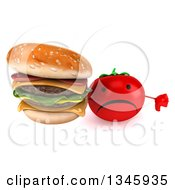 Clipart Of A 3d Unhappy Tomato Character Holding Up A Thumb Down And Double Cheeseburger Royalty Free Illustration by Julos