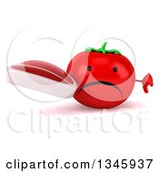 Clipart Of A 3d Unhappy Tomato Character Holding A Beef Steak And Giving A Thumb Down Royalty Free Illustration by Julos