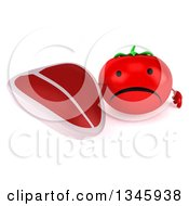 Clipart Of A 3d Unhappy Tomato Character Holding Up A Beef Steak Royalty Free Illustration by Julos