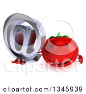 Clipart Of A 3d Happy Tomato Character Holding Up An Email Arobase At Symbol Royalty Free Illustration by Julos