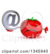 Clipart Of A 3d Unhappy Tomato Character Giving A Thumb Down And Holding An Email Arobase At Symbol Royalty Free Illustration by Julos