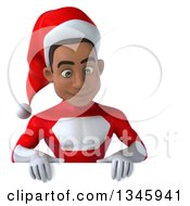 Clipart Of A 3d Young Black Male Christmas Super Hero Santa Looking Down Over A Sign Royalty Free Illustration by Julos