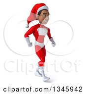 Clipart Of A 3d Young Black Male Christmas Super Hero Santa Walking Slightly To The Right Royalty Free Illustration by Julos