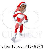 Clipart Of A 3d Young Black Male Christmas Super Hero Santa Speed Walking Royalty Free Illustration by Julos