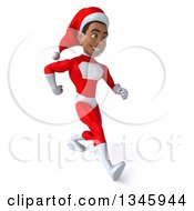 Clipart Of A 3d Young Black Male Christmas Super Hero Santa Speed Walking Slightly To The Right Royalty Free Illustration by Julos